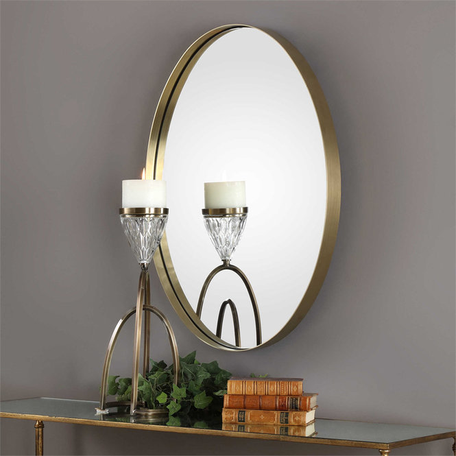 Gold round hanging wall mirror