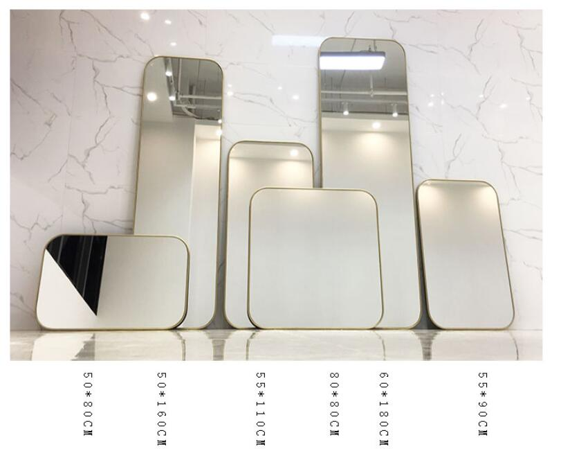 Gold square wall mounted mirror