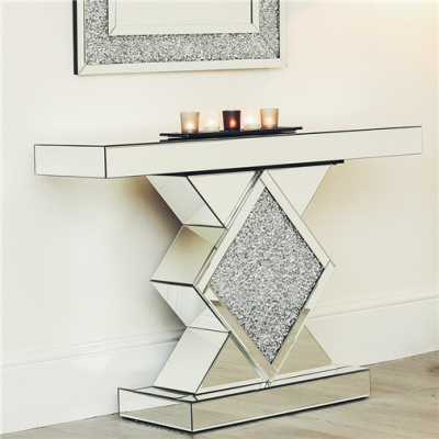 Entryway Crushed Diamond Mirrored Console Table