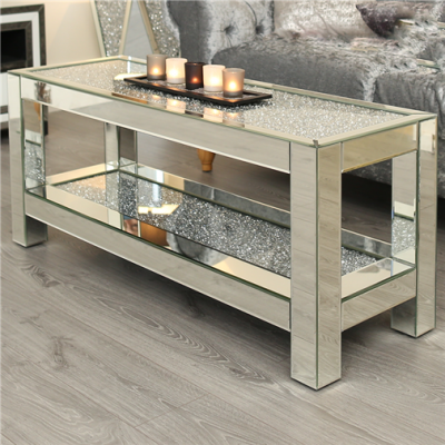 Crystal mirror coffee table