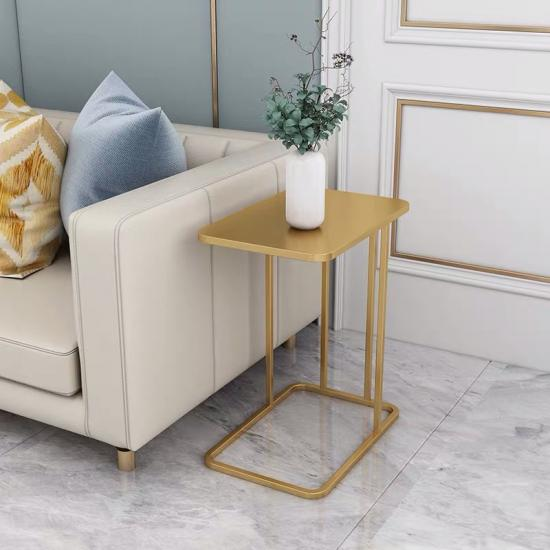 L marble side table
