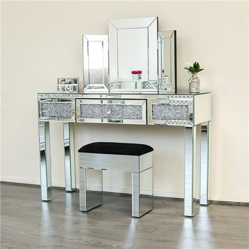 Mirrored console table with mirror