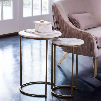 Round nesting marble coffee table