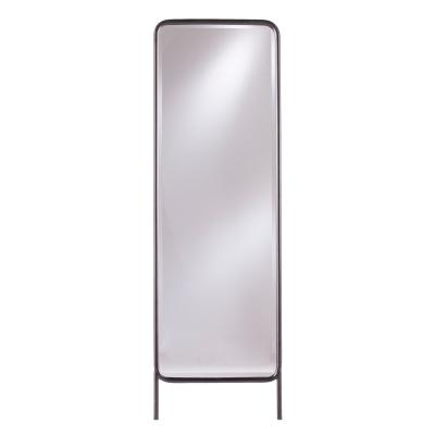 Metal floor leaning mirror