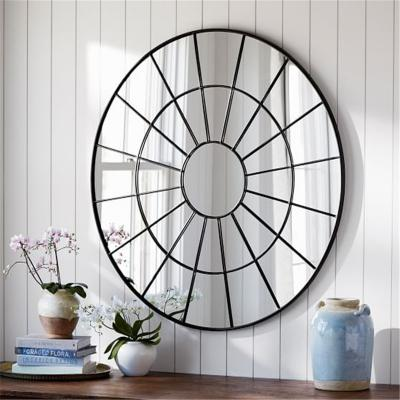 Round window pane mirror